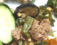 田園豚ひき肉と旬の茄子の中華風辛味噌炒め