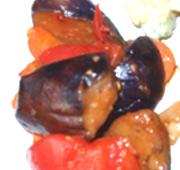有機茄子と有機トマトの辛味噌炒め