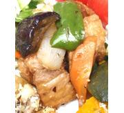 有機の夏野菜の黒酢豚