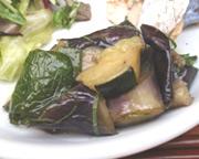 つやつや有機茄子と有機ズッキーニの揚げ浸し