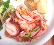 魚介とカラフル有機野菜のハーブマリネ