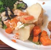 蒸し有機チンゲン菜の中華風海老あんかけ