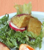 揚げ有機さつま芋とリーフのサラダ ヨーグルトドレッシング