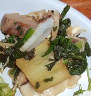 香ばし有機焼き葱と有機青菜のにんにく醤油和え