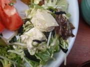 島田さん豆腐と有機リーフとひじきの和風サラダ